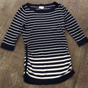 A Pea in the Pod Navy and White Striped Top
